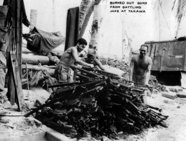 A pile of Browning 1919 machine guns awaiting repair on Tarawa, 1943