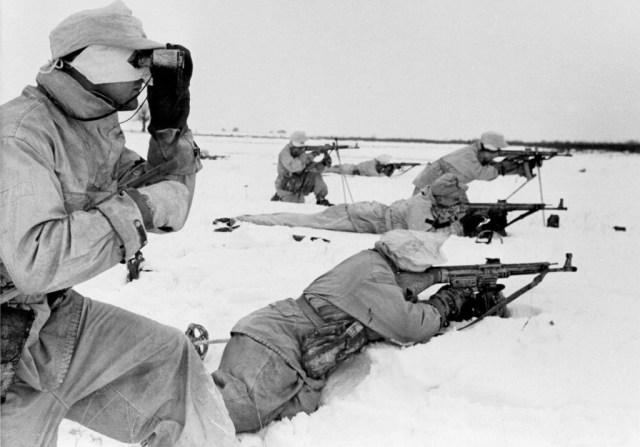 German Skijäger troops with Sturmgewehr rifles in the Ukraine, February 1944