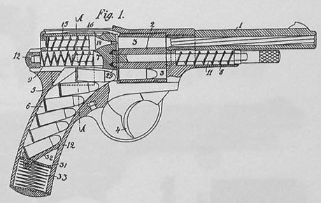 Landstad automatic revolver patent drawing
