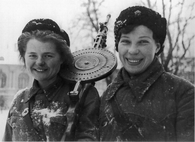 Women of the Red Army with a DP28 LMG