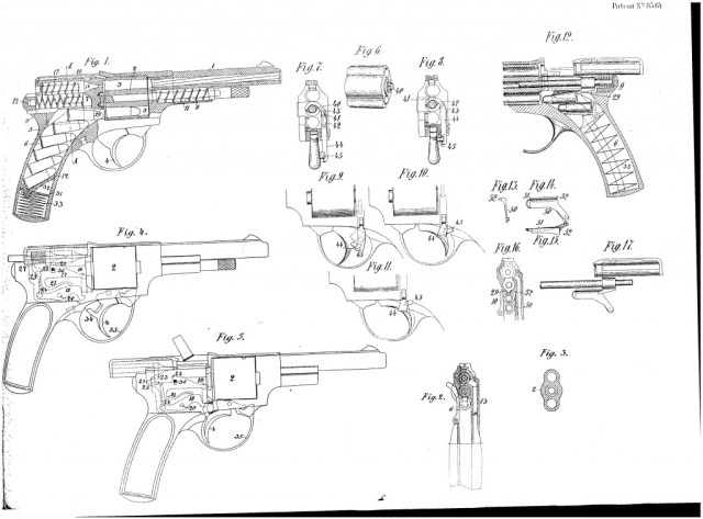 Landstad 1900 automatic revolver patent drawings