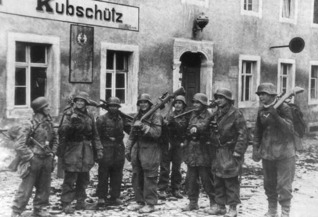 German snipers of the Hermann Goering Division in Bautzen, 1945