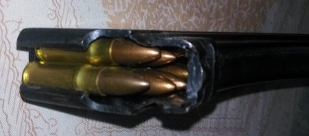AK magazine loaded with 8x33K ammo for a 44-Bore rifle