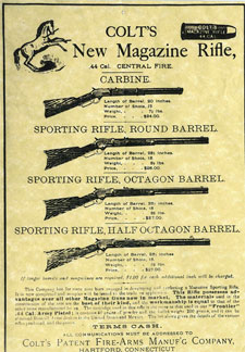 Colt advertisement for the Burgess rifles