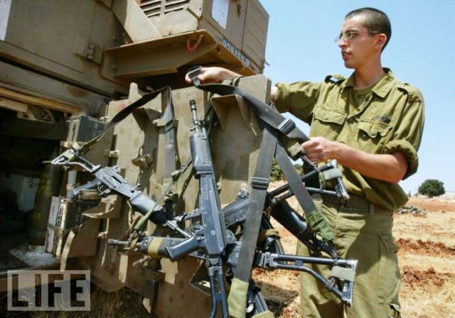 Stack of Galil SAR rifles from the Israeli armored corps