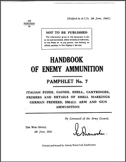 Handbook of Enemy Ammunition, Pamphlet No. 7 (English, 1943)