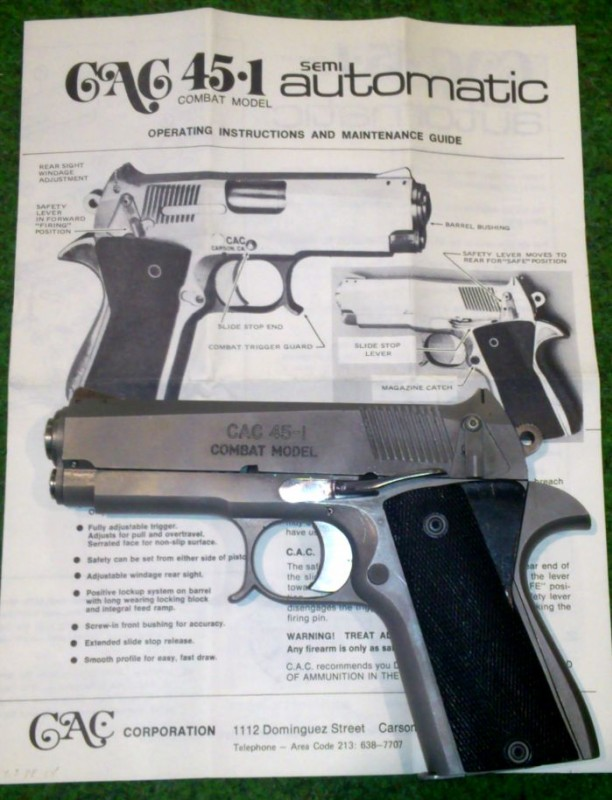 Mossberg CAC-45 with instruction pamphlet