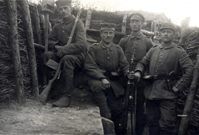 Sentry with trench mag - September 1916