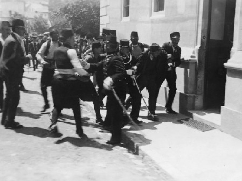 Gavrilo Princip being arrested in Sarajevo on June 28, 1914.