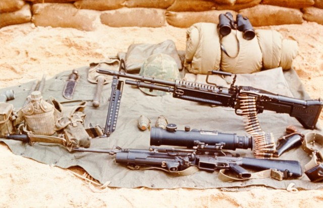M60 and M16 (with starlgiht scope and grenade launcher)
