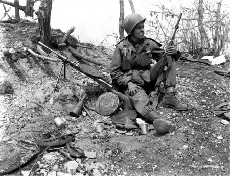 US solider in Korea with a captured DP-28 - March