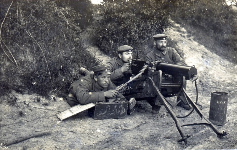 German WWI Landwehr unit posing with an MG08