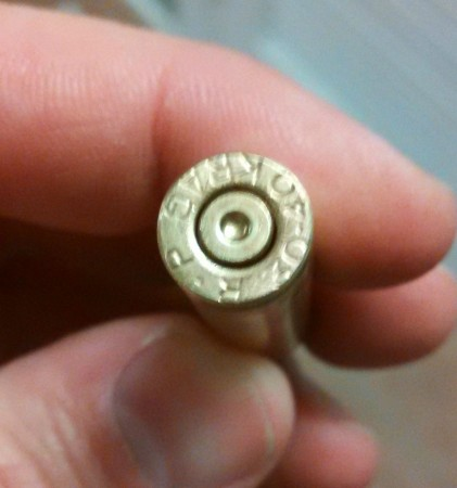 Case fired immediately before the one that blew up. Note the .30-40 headstamp.