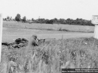 German soldier with a captured Polish Maroszek wz.35 anti-tank rifle