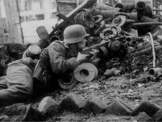 German soldier with a PPSh-41 submachine gun
