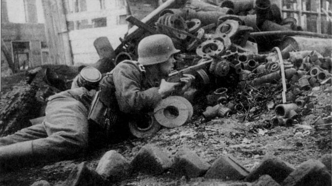 German soldier with a PPSh-41 submachine gun