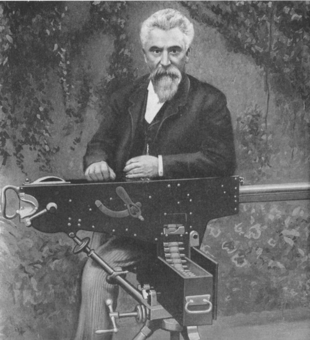 Hiram Maxim with his initial 1885 prototype machine gun