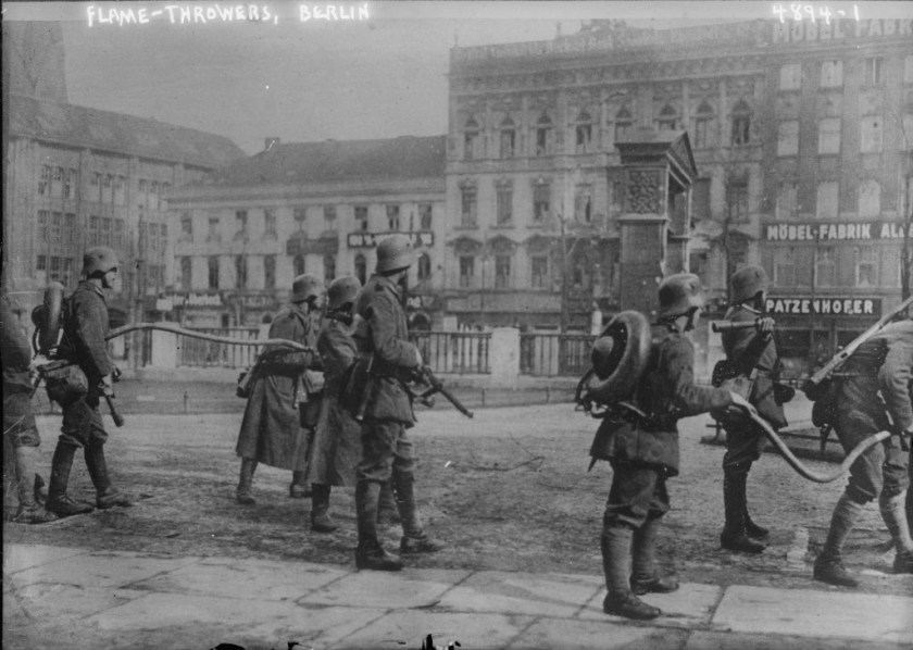 German Freikorps arraying with flamethrowers during the 1919 Spartacist revolt in Berlin