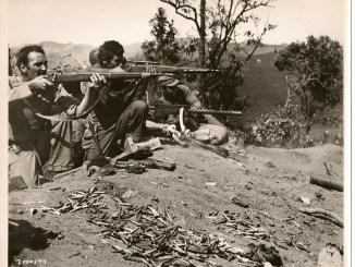 US troops in the Pacific Theater with 1903 Springfields and a 1919A4 machine gun
