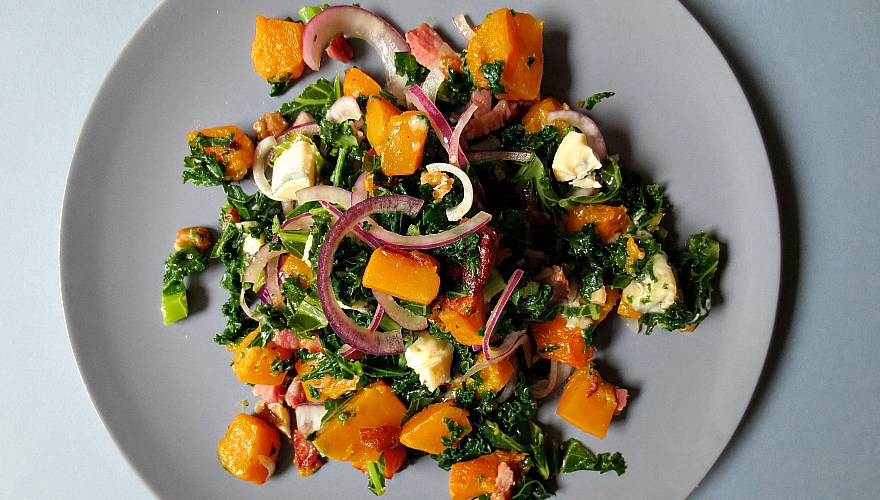 Roasted Butternut Squash, Kale and Bacon