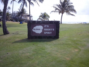 Aloha granite sign