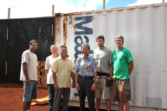 L to R: Kaua`i Habitat Construction Supervisor Pablo Herrera, Exec. Director Stephen Spears, Matson VP Vic Angoco, Matson Lihue Dewayne Kong, AmeriCorps Member Mike Muir, AmeriCorps Member Ryan Carmichael. Courtesy photo