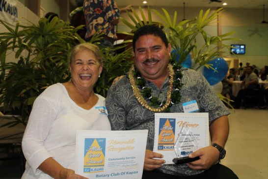 Green Category winners, Malama Kaua'i and KIUC, received by Keone Kealoha and Shelley Paik