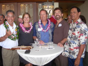 Grand Hyatt Kauai hosted the Kauai Marathon's business after hours Thursday, March 7 in the Ilima Terrace restaurant. L to R Dickie Chang, Wala`au; Diann Hartman, Public Relatons Manager; Doug Sears, General Manager; Ron Wiley, KONG radio; Malani Bilyeu provided music for the event.