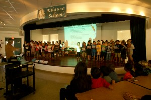 Kilauea Elementary School are seen here singing a song in appreciation of 130 iPads purchased mostly with funds raised by the Rotary Club of Hanalei Bay.