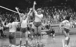 University of Hawai'i Wahine volleyball team in the 1970s.