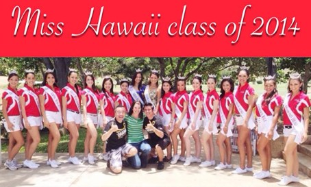 Contestants for Miss Hawai'i 2014. Stephanie Steuri is the fourth from left.