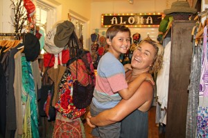 Oskar's Boutique owner Annie Sadler and her child Haven.