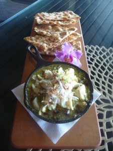 The Coconut-Crab Luau Dip is a new take on a traditional Hawaiian dish. Chef Liang and his staff turned a luau leaf into a dip with rich coconut and hunks of crab and crispy naan bread to scoop.