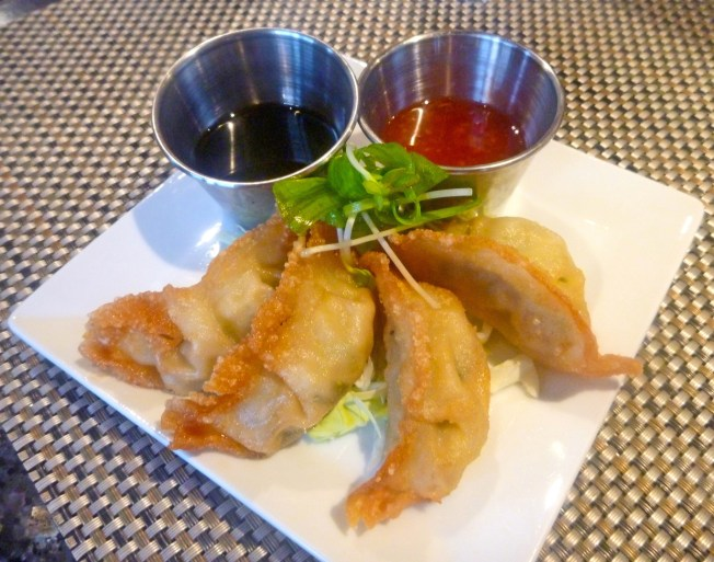 The Gyoza comes with delicious dipping sauces.