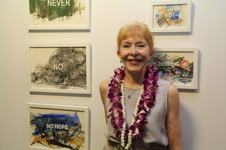 Roberta Griffith and her artwork.