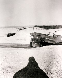 A P-40K of United States Army Air Forces (USAAF) 78th Fighter Squadron, in an Eastern Island revetment while stationed at Midway from January 23 until April 21, 1943 to protect the island, its garrison and fortifications and the submarine and communications base from enemy attacks.