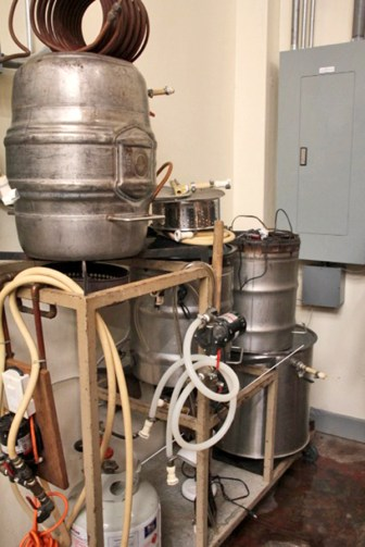 Jim Gerber's old home brewing system is now the tester for new brews, and is just a smaller version of the behemoth that does all the big work.