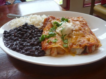 We passed around a plate of Seafood Enchiladas, bursting with shrimp and cheese.