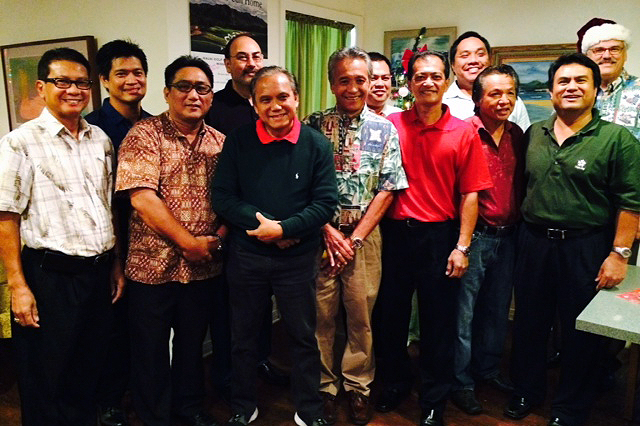 From left to right, Dr. Antolin Apalla, Bobby Ayonon, Oscar Portugal, Eugene Jimenez, Kaua'i Philippine Cultural Center President Lesther Calipjo, Angel Acorda, Kaua'i Filipino Chamber of Commerce President Eddie Topenio, Romel Valenzuela, Mike Martinez, Vonn Ramos, Mike Miranda and Steve Sparks.