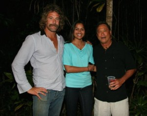 Mike Young, right, with Donovan Frankenheiter and a friend, backstage at the Party for Poutasi in December 2009 at Kilohana.