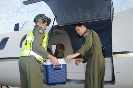 From left, PMRF Naval Aircrewmen Ian Gottron and Johnathan Weiss load coolers containing the Laysan eggs aboard the C-26. Photo by Stefan Alford