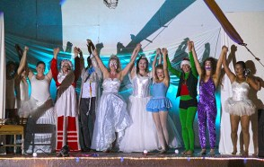 The High Sky Cast troupe thanks the audience.