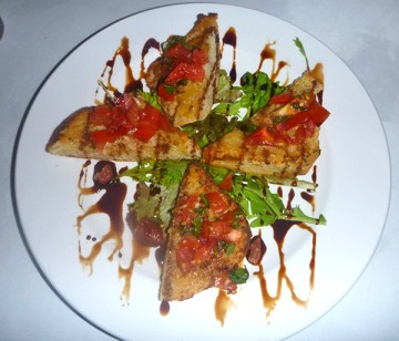 Bruschetta for starters, made with local veggies and bread baked on Kaua'i.