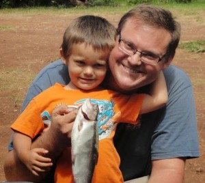 A happy father and son during last year's trout fishing season in Koke'e. Photo by DLNR DAR