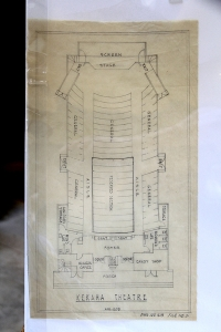 The blue print of of a theater that once stood in Mana Camp, near Polihale.