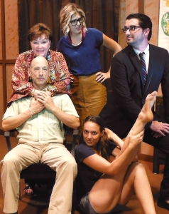 The cast of Prodigal Father; standing, Jo Grande, Nicole Cowan and Chris Alderete; sitting, Jeff Demma and Erin Gaines.