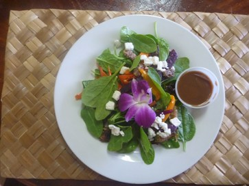 This is not your typical Spinach Salad. It comes with roasted beets, sweet peppers and Brussels sprouts with feta cheese and candied pecans. With a super tangy dressing, this is a hearty salad, a good prelude to a meal or a meal itself.