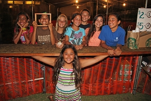 Kapa'a Hongwanji 2014 Bon Dance. Anela Rapozo, on the foreground, and her classmates, from left to right, Miulana Asai, Hoouka Aquit, Hannah Asquit, Kamalii Haumea-Thronas, Kahiau Hamberg, Kamakea Haumea-Thronas and Laie Smith.