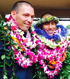 Milo Spindt and Jordan Kahawai at the Kaua'i Fire Department graduation.