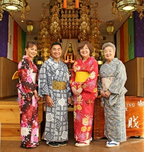 From left to right, Maile Taniguchi, Steven Domingo, Fay Tateishi and Aiko Nakaya are seen here at the Kaua'i Soto Zen Temple in Hanapepe.